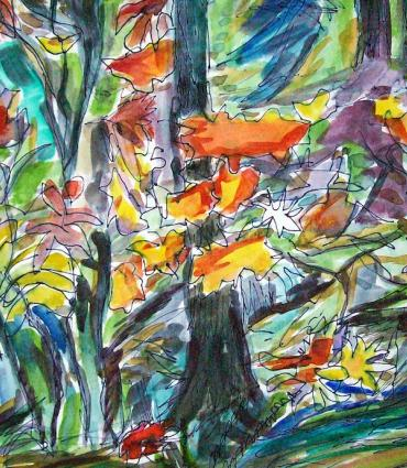 Forrest Beaux Arts Rhodies and Wildflowers Ink Watercolor