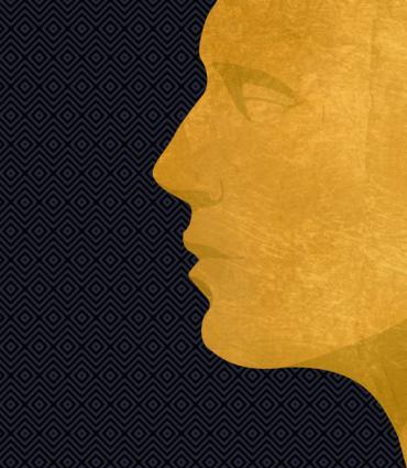 golden profile on a dark patterned background