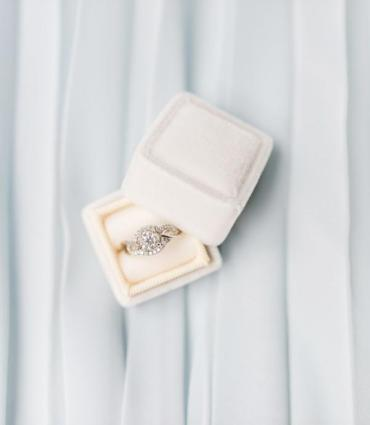 Image of an engagement ring in a white box against a white background