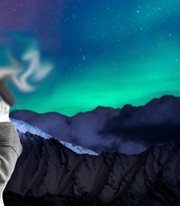 whitman with head morphing into an aurora