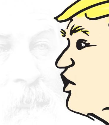 Cartoon of Trump on top of Whitman face