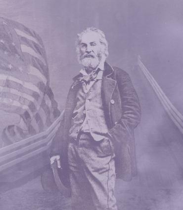Smoky bridge with Whitman by an American flag