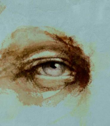 Etching of a close up on a face