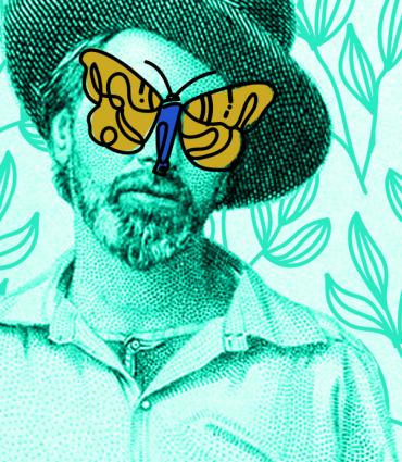 Walt Whitman with a butterfly over his face.