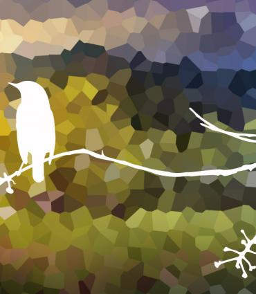 White outline of a bird on a branch in front of mountainscape