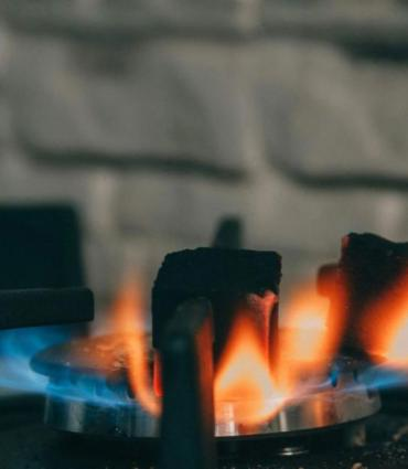 gas stove flame close up