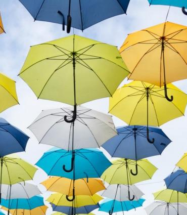 Photo courtesy of Unsplash of umbrellas