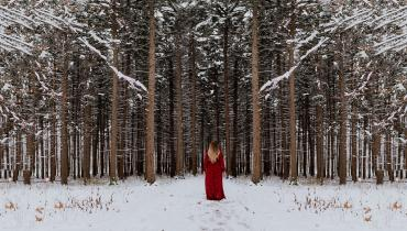 woman standing in front of snowy forest