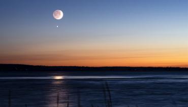 Moon and Venus in night sky