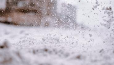 Close up of snow on street