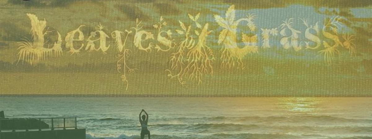 Sunrise yoga with Leaves of Grass lettering