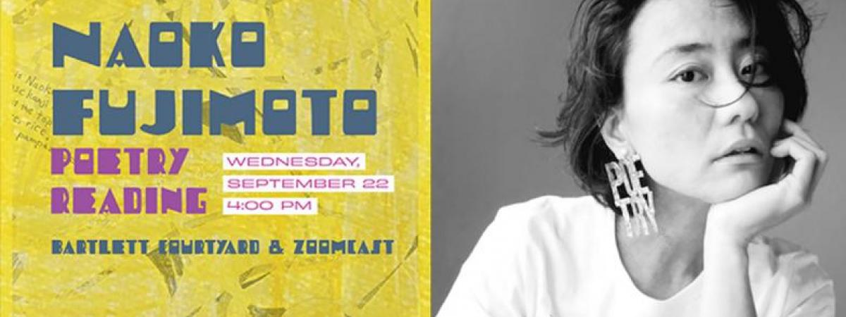 event poster and Fujimoto headshot
