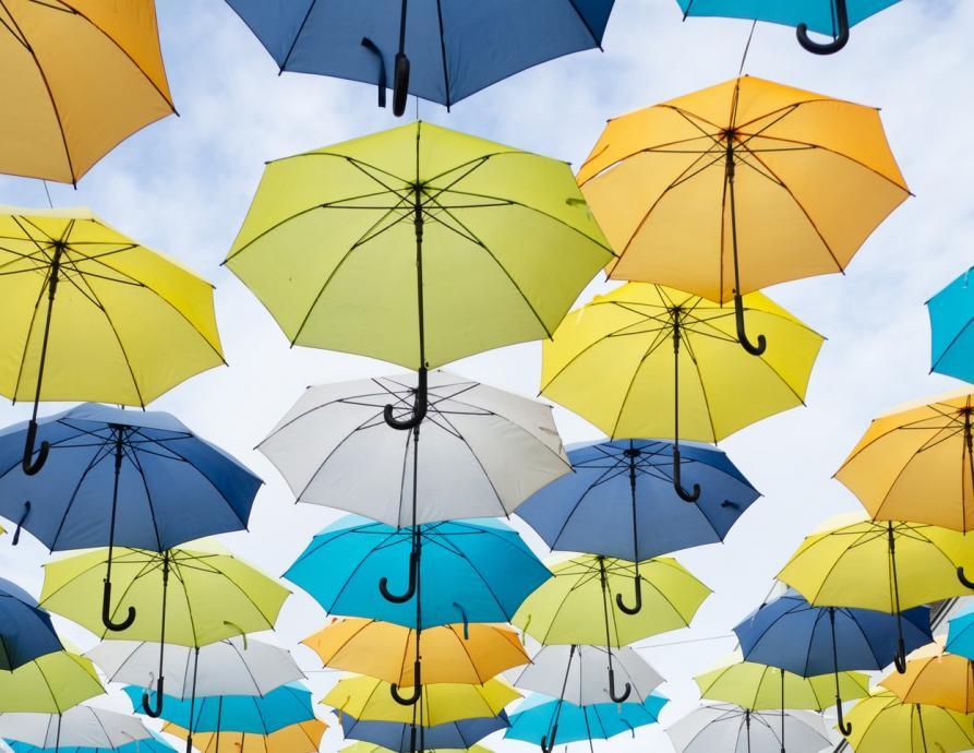 Photo courtesy of Unsplash of umbrellas