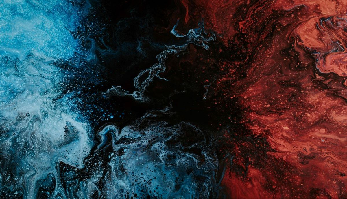 Abstract blue and red design